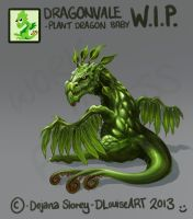 Plant Dragon Baby WIP by DLouiseART
