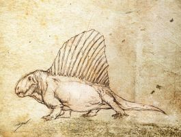 Dimetrodon Sketch by Bran-Artworks