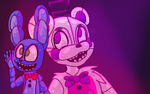 Funtime Freddy w/ Puppet Bonnie (redraw) by Carritrap