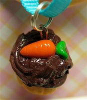 carrot cupcake close up by MotherMayIjewelry