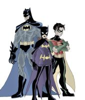 The Batman, Robin, and Batgirl by phil-cho