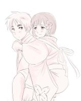 England piggybacking Fem!Japan by maybebaby83
