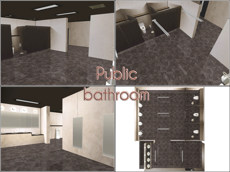 CM3D2 to MMD: Public Bathroom by kaahgomedl