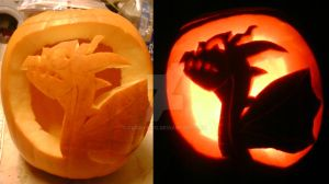 Lightning Dragon Pumpkin by clickybiro