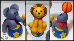 Fondant Circus Animal Cake toppers by Corpse-Queen