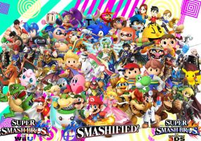 SSB4- Cast Picture (including Smashified!) by MintyMintyIceCream