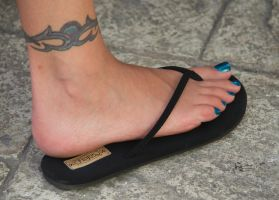Karin's Long Toes in Black Flip Flops 3 by Feetatjoes
