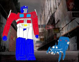 Tachikoma meets Optimus Prime by AVGNJr1985
