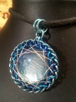 Whisps of Cloud Enameled glass set in Maille by BacktoEarthCreations