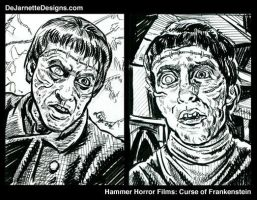 Curse of Frankenstein Sketches by DeJarnette