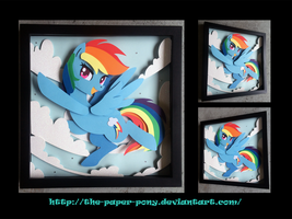 Bronycon 14 Charity Auction Rainbow Dash Shadowbox by The-Paper-Pony