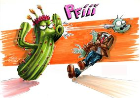 Cactus vs Zombie by thiagospyked
