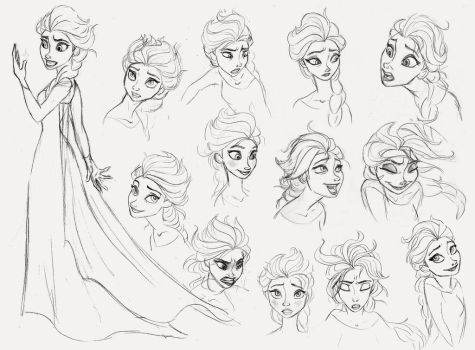 Elsa Sketch Dump by AriellaMay