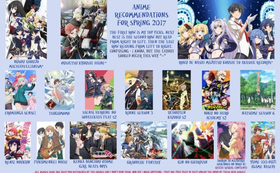 Anime Recommendations Spring 2017 by LuffyNoTomo