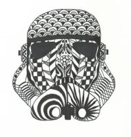 Zentangle Stormtrooper Helment by 96Patches