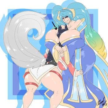 Comm : Sona x Ahri Smother by OkiOppai
