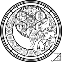 Shining Armor Stained Glass -line art- by Akili-Amethyst