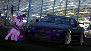 Twilight Sparkle and her Skyline R34 GT-R 2 by nestordc