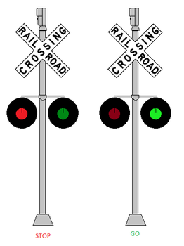 Railroad Crossing Signals with Red and Green Light by WillM3luvTrains
