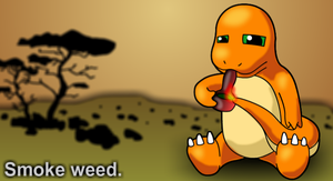Charmander smokes a bowl by EimKrayDehydray