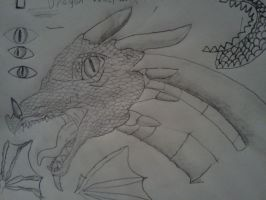 Dragon head Drawing with scales :D by VoraciousAmphy96