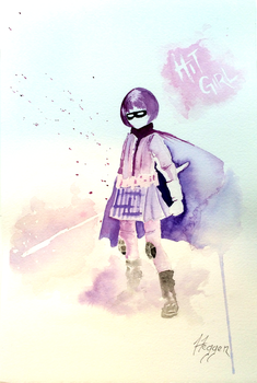 Hit-Girl greets you. by SteveHeggenAquarelle