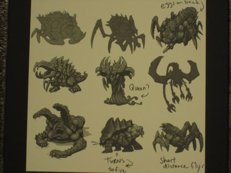 Zerg Concept Sketches by LanceOmikron