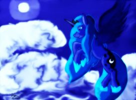 Luna in Moon Soaked Clouds by TigerDusk27