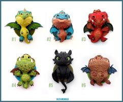 Dragon Charms Collection - CLAY Sculptures by buzhandmade