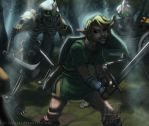 Link vs. Three Stalfos Knights by thelaserhawk