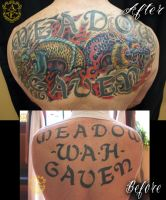 Twin Dragon Cover Up Tattoo done by Sean Ambrose by seanspoison