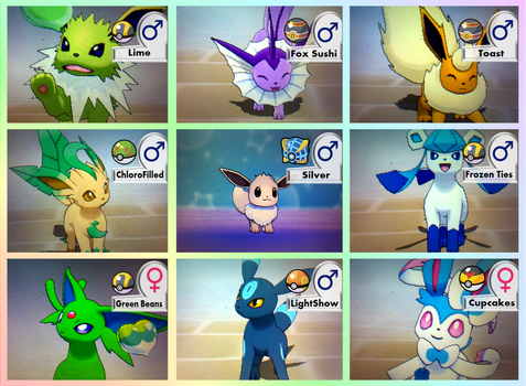 Shiny Eeveelutions Project - Complete by Rotommowtom