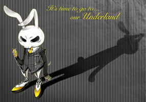 The skeleton rabbit from Underland illustration by kuroneko-blkcat