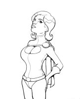 Power Girl - lineart by kirstgrafx