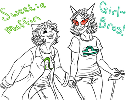 Homestuck: Girl!bros! Best furriends! by NancyStageRat