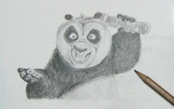 Kung fu panda graphite drawing by AliceColours