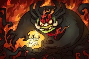 Samurai Jack vs Aku by SIIINS