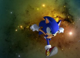 Sonic on the space run by Kanamiku