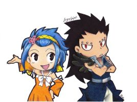 Chibi Levy X Gajeel (Colored Version) by InlineSpeedSkater