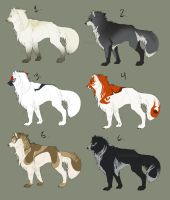 Wolf adoptables by Frostfaxe