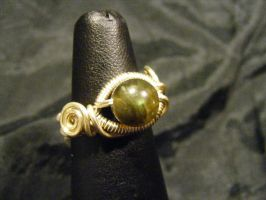 coiled spiral labradorite ring by BacktoEarthCreations