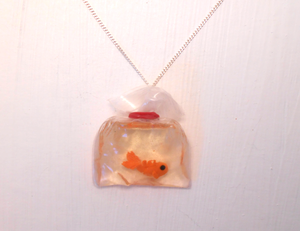 Handmade miniature goldfish in a bag necklace. by MiniSweetx