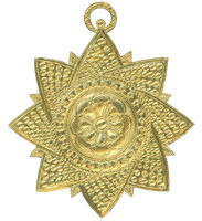 German Dresden Gold Paper Medallion Ornament 3 by EveyD