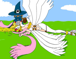 Wizardmon and Angewomon by ScruffyToto