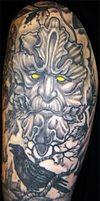 Green Man and Raven Tattoo by wintersmagic