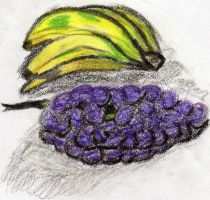banana and grapes, oil pastels by xbertyx