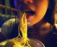 Noodle fiesta in my mouth by photogenicsmiles