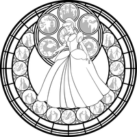 Cinderella Stained Glass Vector line art by Akili-Amethyst