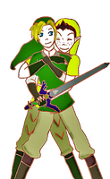 Link and Pipit Colored by Cinsarity