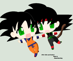 Chibi Goku and Bardock by Shadethebathog
